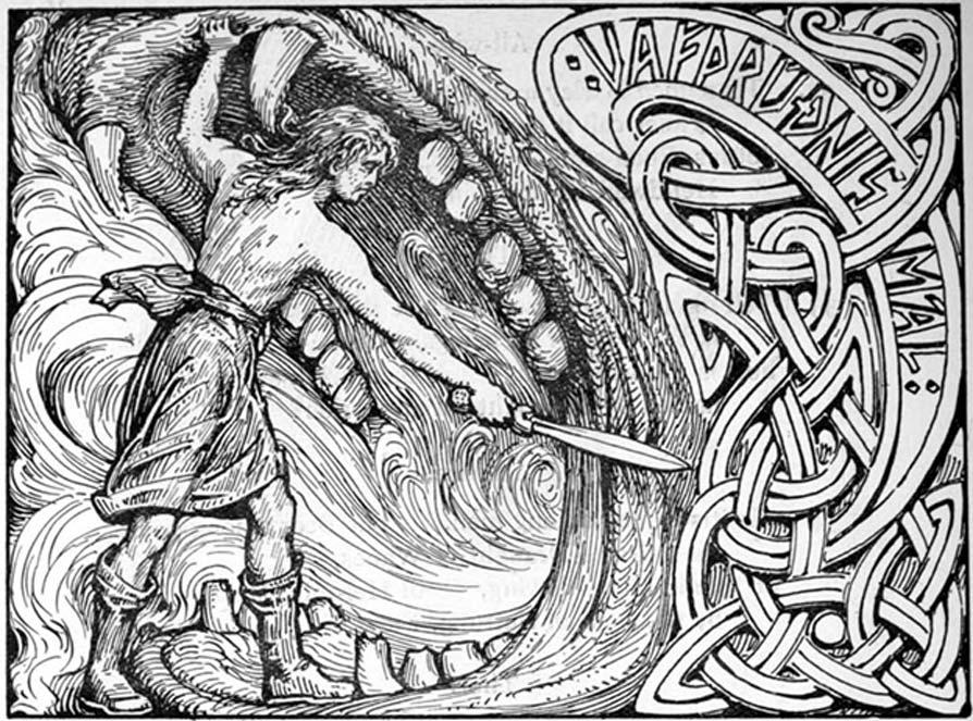 Vidarr combate a Fenrir - Una batalla épica entre el Bien y el Mal: El mito nórdico de Ragnarök y el Crepúsculo de los dioses