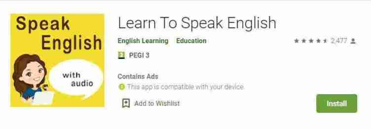 تطبيق الأجهزة الذكيّة Learn to speak English