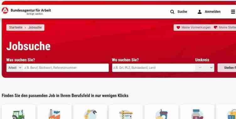 الصفحة الرئيسية لموقع Arbeitsagentur للبحث عن عمل في ألمانيا