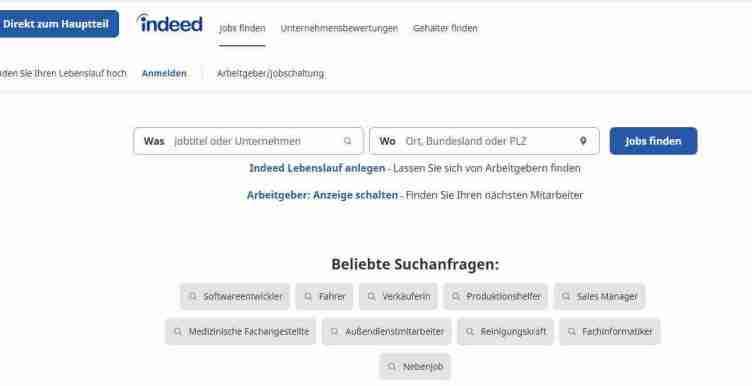 الصفحة الرئيسية لموقع Indeed للبحث عن عمل في ألمانيا