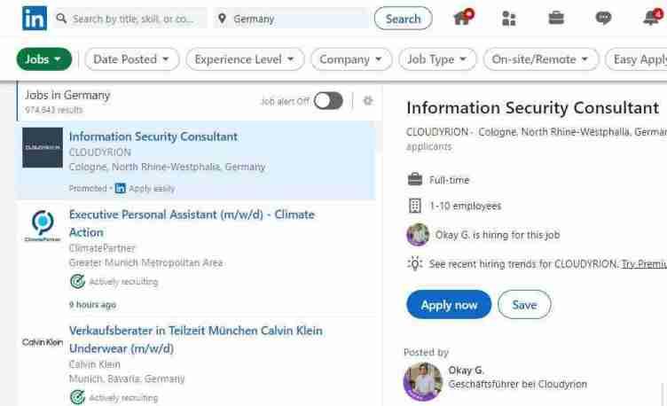 الصفحة الرئيسية لموقع LinkedIn للبحث عن عمل في ألمانيا