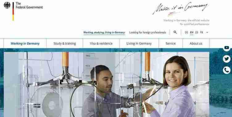 الصفحة الرئيسية لموقع Make It in Germany للبحث عن عمل في ألمانيا