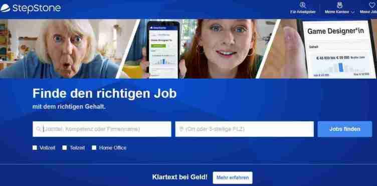 الصفحة الرئيسية لموقع Stepstoneللبحث عن عمل في ألمانيا