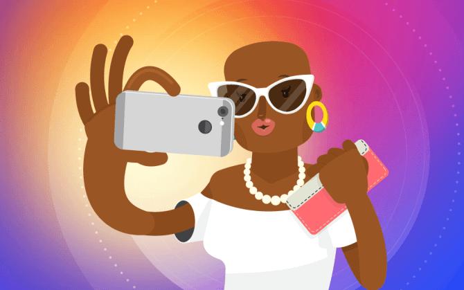 ilustração de uma mulher fazendo foto tumblr para o instagram