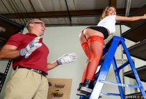 Big Tits At Work - ReStockings - August Ames