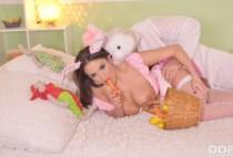 Like Rabbits: Hot Couple Fucks on Bed Wearing Bunny Costumes