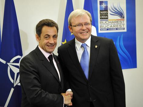 NATO Summit: French President Nicolas Sarkozy and Australian Prime Minister Kevin Rudd. (Photo: AFP)
