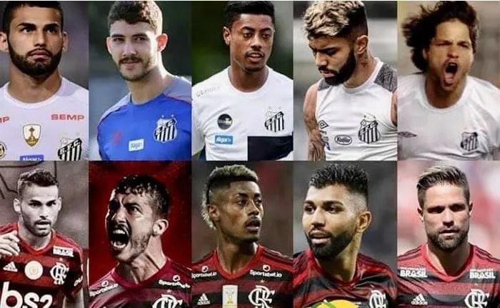 """Flamengo Castilla? Com elenco repleto de ex-Santos, rubro-negros tiram onda e brincam: """"Nossa base"""""""