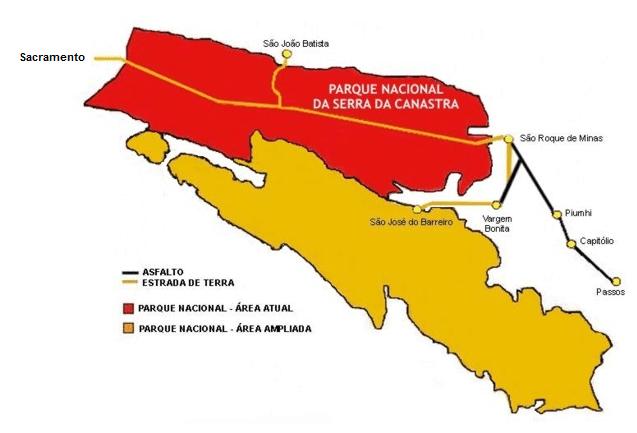 mapa da Serra da Canastra