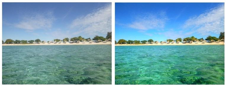 A bela praia de Ancón, em Cuba, antes e depois da edição.