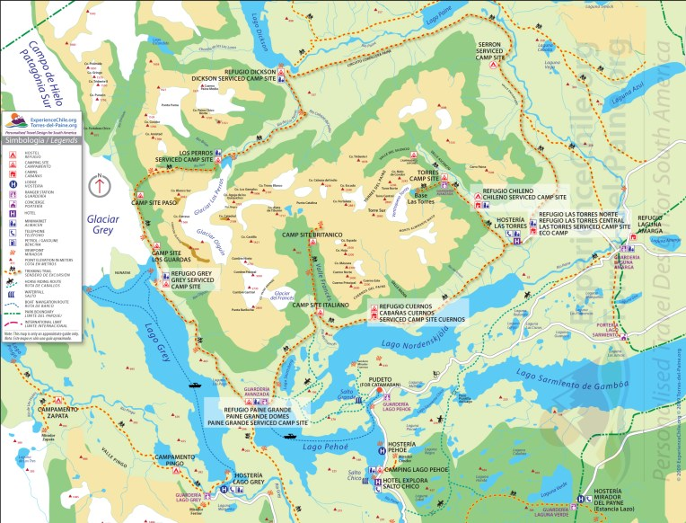 Mapa completo de Torres del Paine