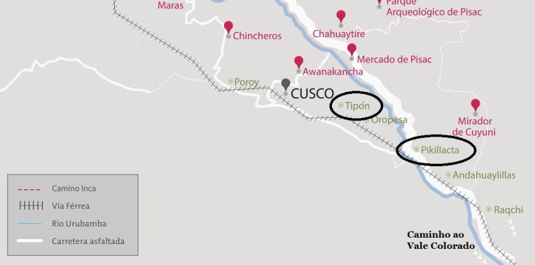 Mapa com Tipón e Pikillacta, os dois sítios arqueológicos pouco visitados na região de Cusco