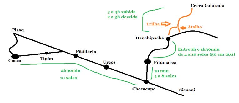 Mapa pare chegar até o Cerro Colorado