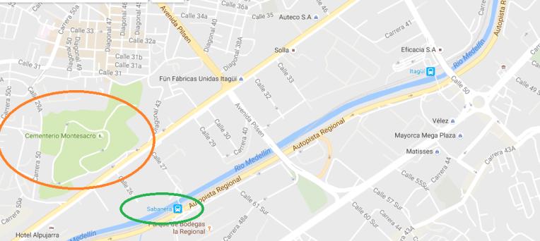 Mapa para o cemitério onde Pablo Escobar está enterrado.