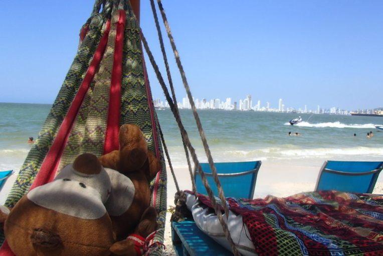 Mucuvinha relaxando na praia de Tierra Bomba
