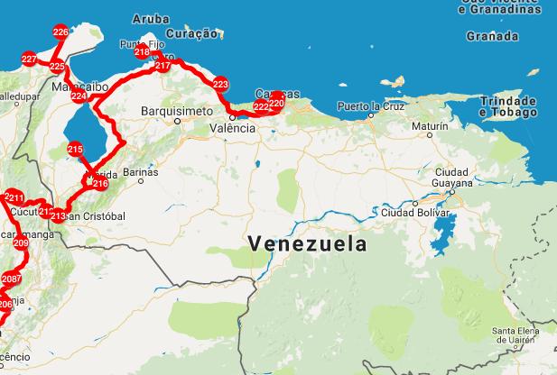 Nosso recorrido pela Venezuela