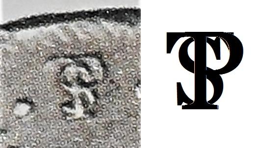 Símbolo de Potosí nas moedas, representado pela sobreposição das letras P, T e S.
