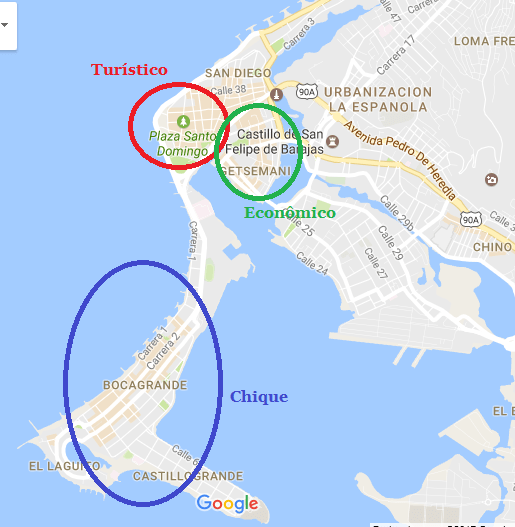 Mapa de hospedagens em Cartagena