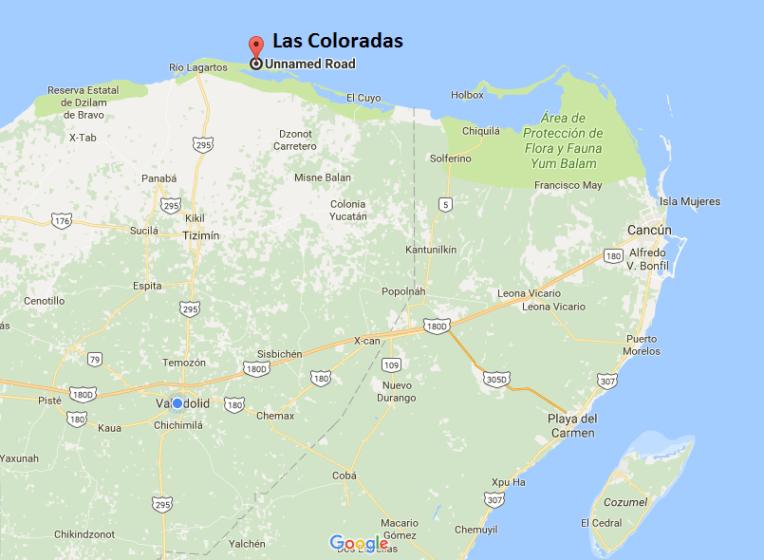Localização das lagoas Las Coloradas