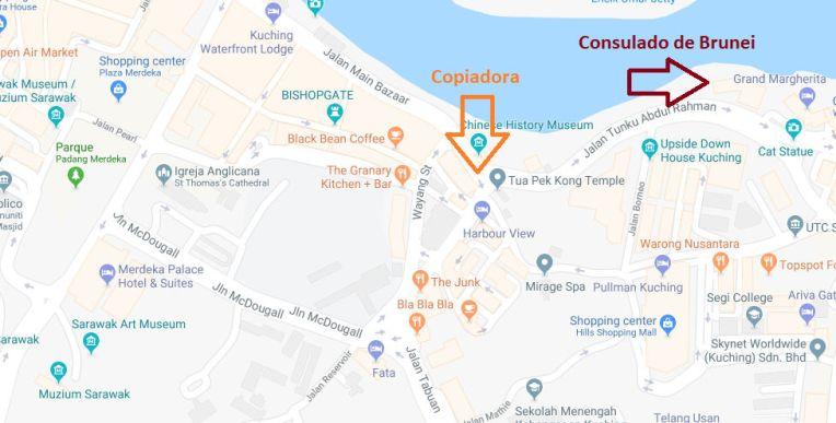 Mapa do consulado de Brunei em Kuching