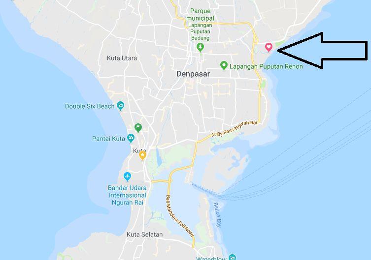 Mapa do Taman Festival, o parque de diversões abandonado de Bali