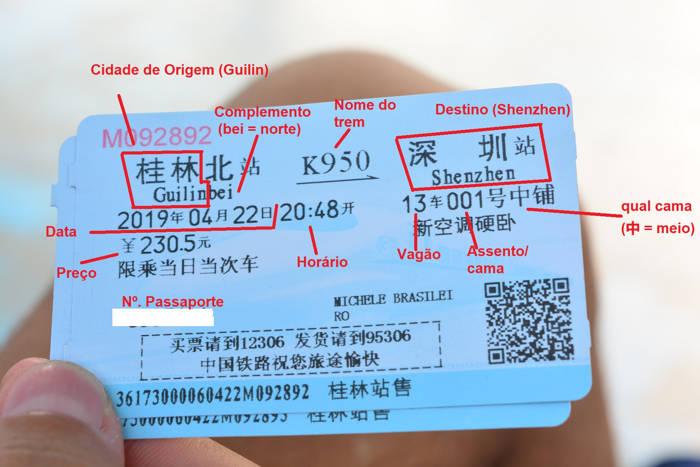 Ticket viagem de trem na China
