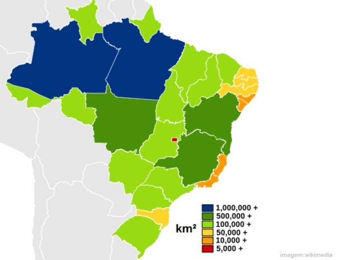 Top 10 maiores estados do Brasil em território