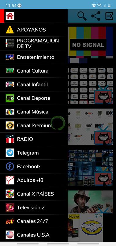 menu lateral globo tv