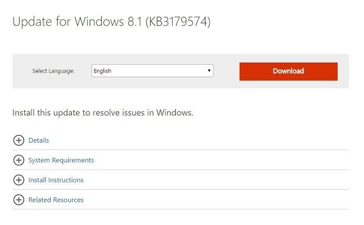 KB3179574 для Windows 8.1 вызывает проблемы с медленной загрузкой