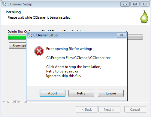 ИСПРАВЛЕНИЕ: ошибка CCleaner при открытии файлов для записи