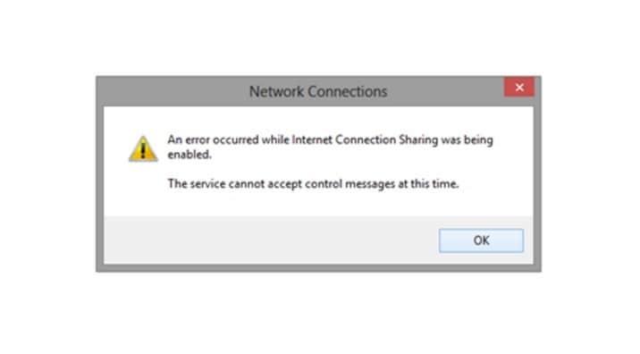 Произошла ошибка при активации общего доступа к интернет-соединению[FIX].