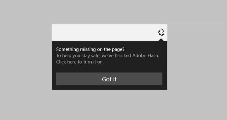 В индикаторе чего-то не хватает на странице в Microsoft Edge