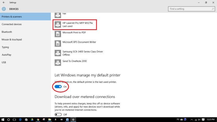 Отключить автоматическое управление принтером по умолчанию в Windows 10