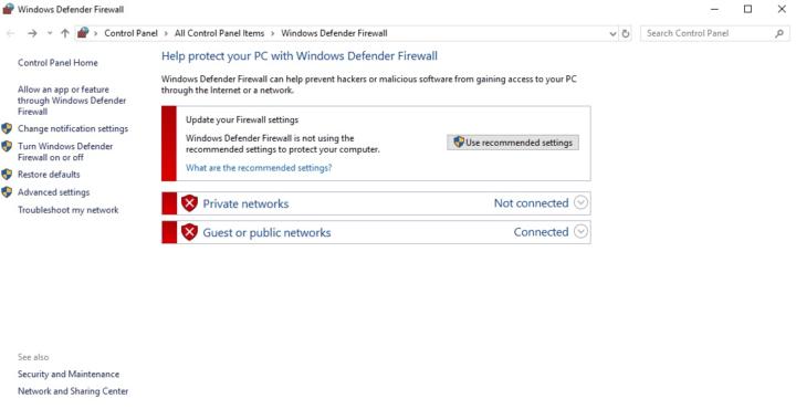 Исправлено: не удается включить брандмауэр Защитника Windows в Windows 10.