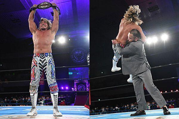 Hiroshi Tanahashi celebrando tras ganar el título