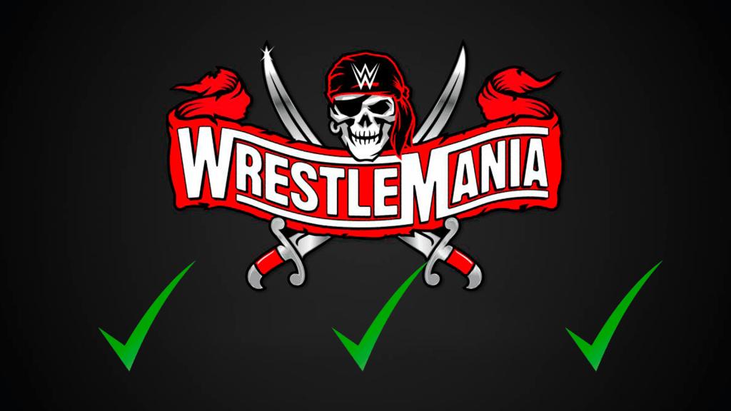 Montaje cartel WrestleMania 37 con ticks verdes