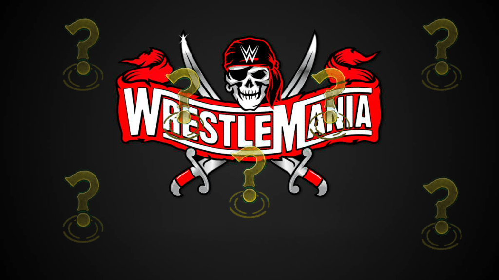 Montaje cartel WrestleMania 37 con interrogantes
