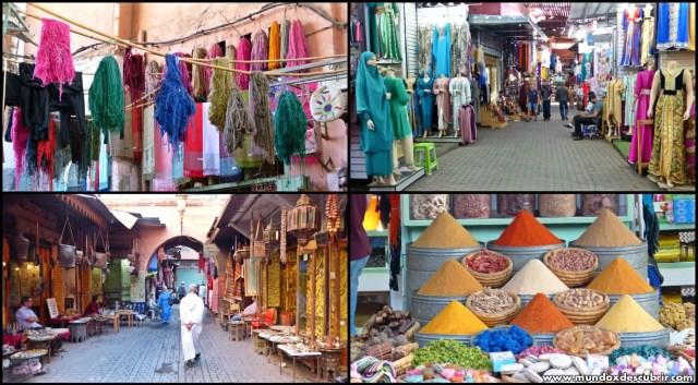 Telas y especies en el Zoco Marrakech - Marruecos