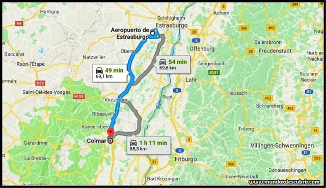 Distancia entre el Aeropuerto de Estrasburgo y Colmar en coche