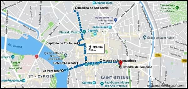 mapa ruta un día por toulouse