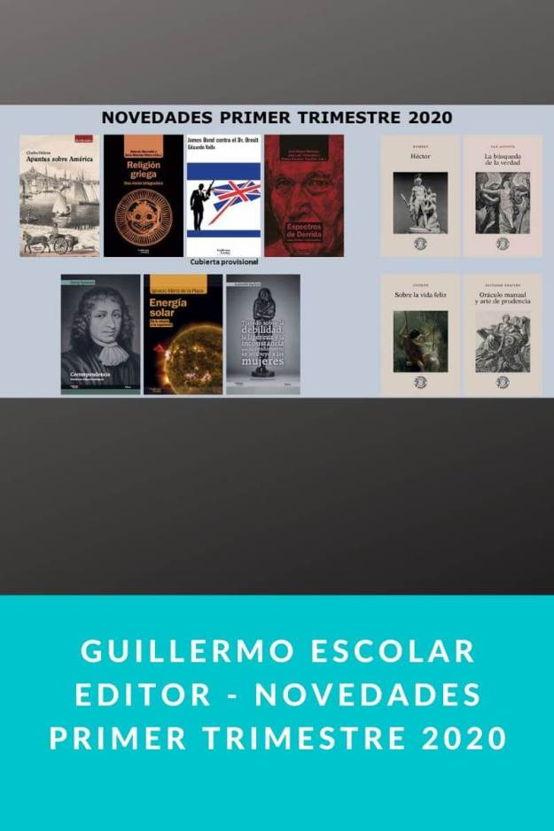 Guillermo Escolar Editor – Novedades primer trimestre 2020