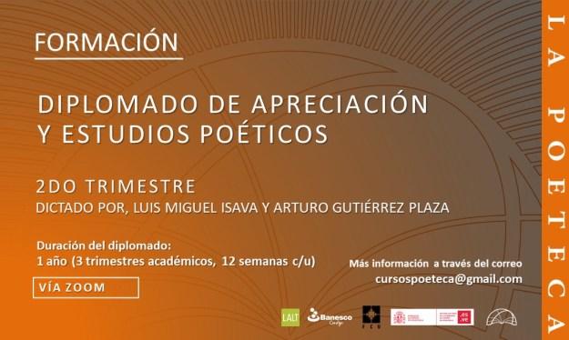 Flyer diplomado de apreciación y estudios poéticos