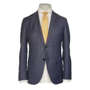 Caruso Herren Anzug Einreiher Blau kariert Wolle Luxus