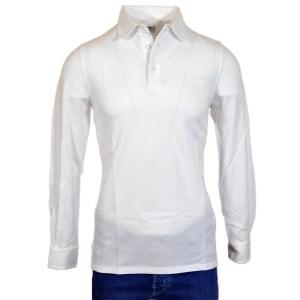 Fedeli Herren Polo Weiß Baumwolle Langarm