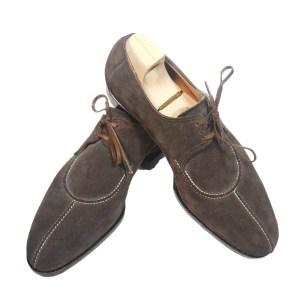 Saint Crispin`s Herren Schuhe Schnürer Grau/Braun Velourleder Luxus