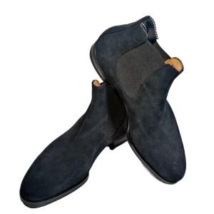 Saint Crispin`s Herren Chelsea Boot Velour Schwarz Luxus