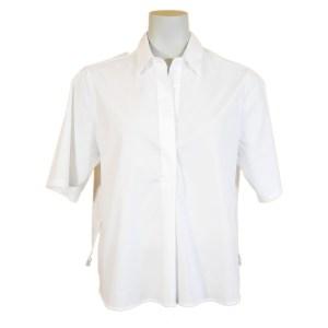 Artigiano Damen Bluse Baumwollmix Weiß Luxus
