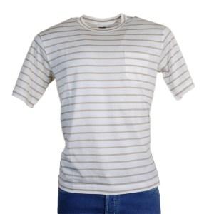 Fedeli T-Shirt Herren Weiß/Beige gestreift Kurzarm Baumwolle