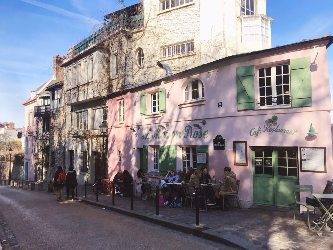 la Maison Rose restaurant Paris France pink building green shutters