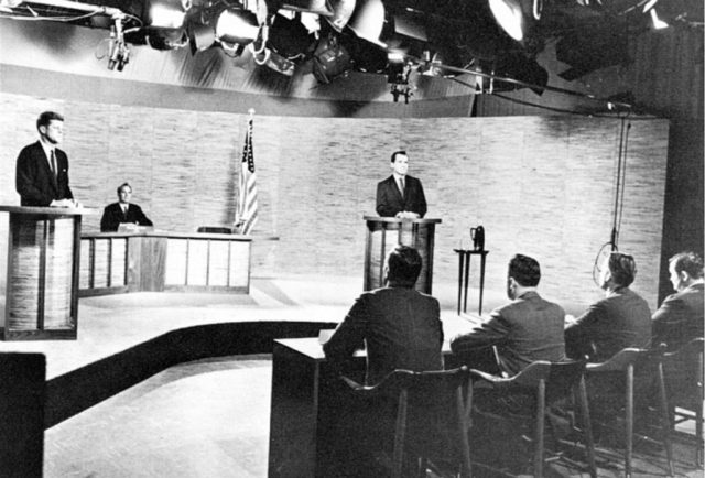 John F. Kennedy and Richard Nixon participate in the second 1960 presidential debate, held in the NBC studios in Washington D.C. and narrated by Frank McGee.